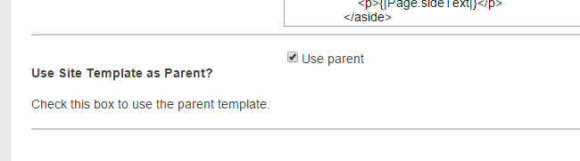 Use Site Template as Parent checkbox